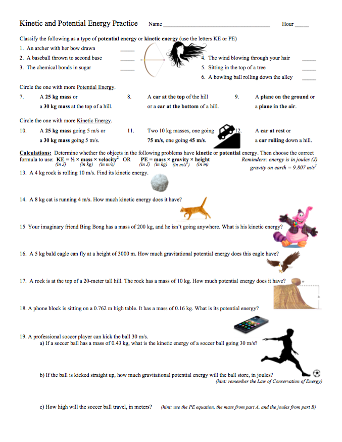 Kinetic and Potential Energy practice