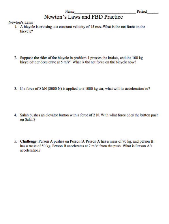 Newton's Laws and FBD practice