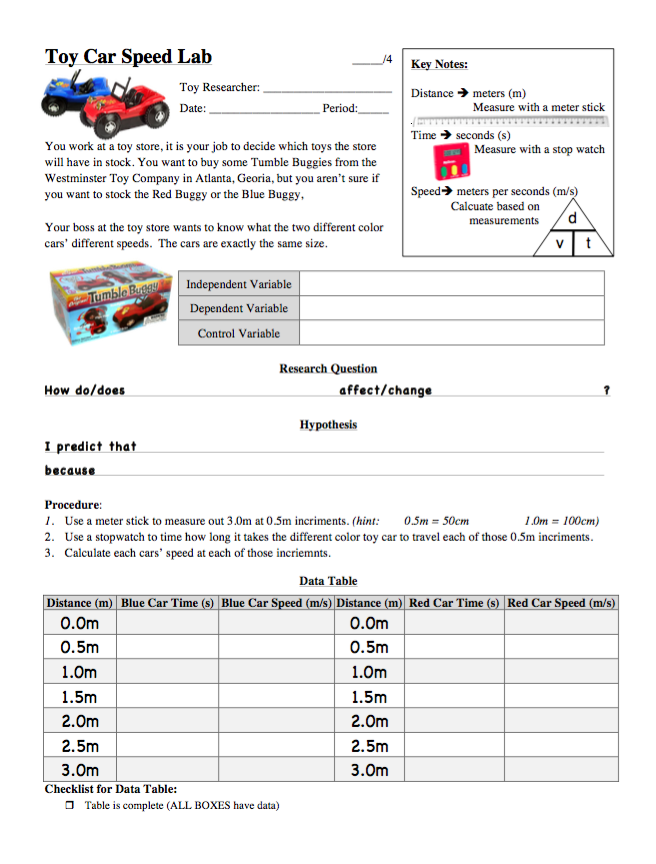 Toy Car Speed Table